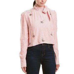 NWT W118 Walter Baker Becky Embellished Stripe Top